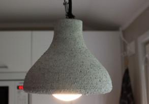 Lampun varjostin betonista. (Sisustusbetoni Oy)